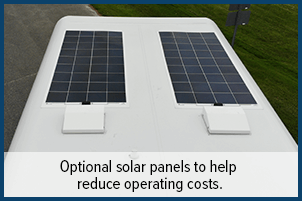 Optional solar panels to help reduce operating costs.